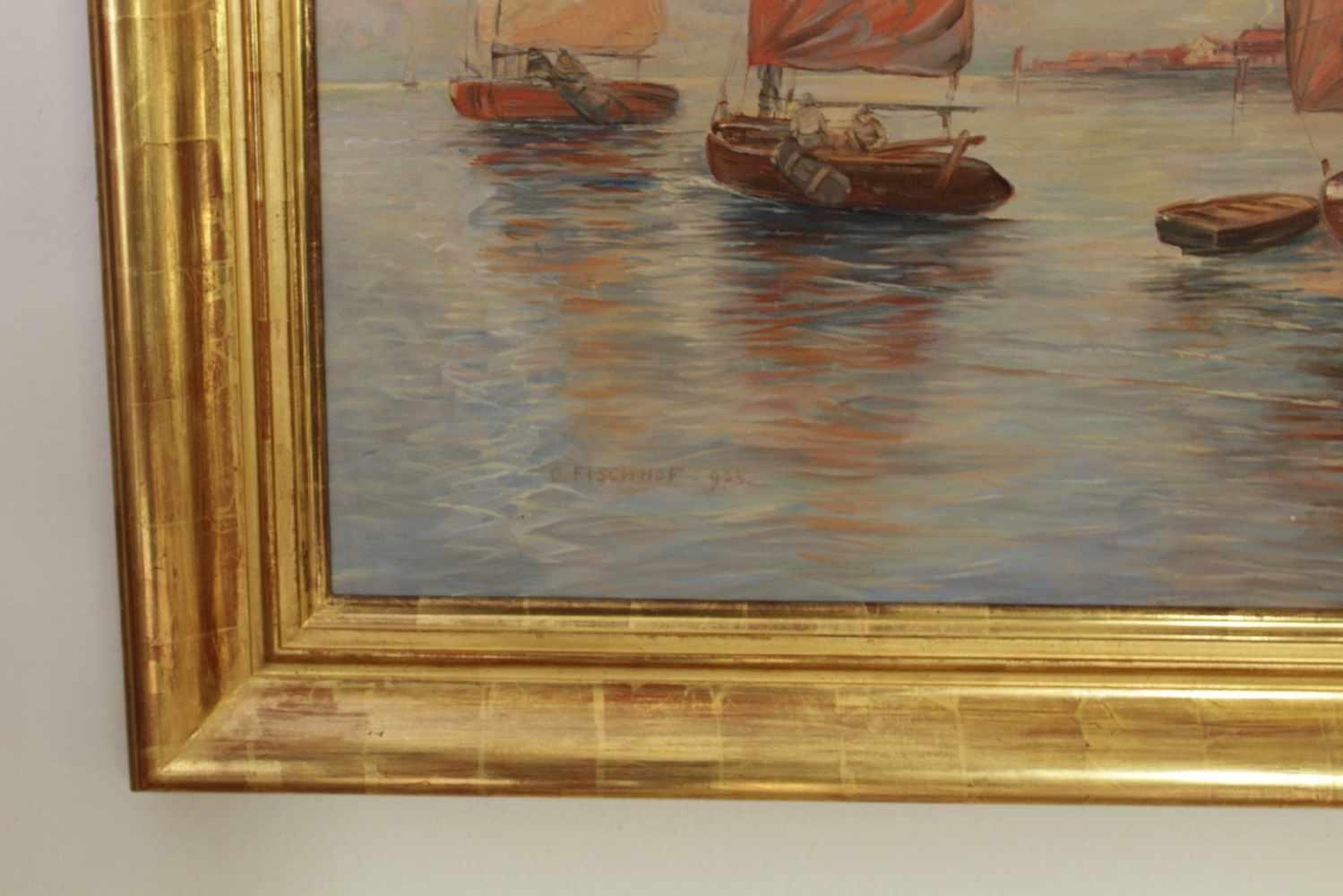 SEEBILD Seebild mit Fischerbooten und kleiner Hafenstadt, Georg Fischhoff (1859 - 1914), Öl auf - Image 2 of 2