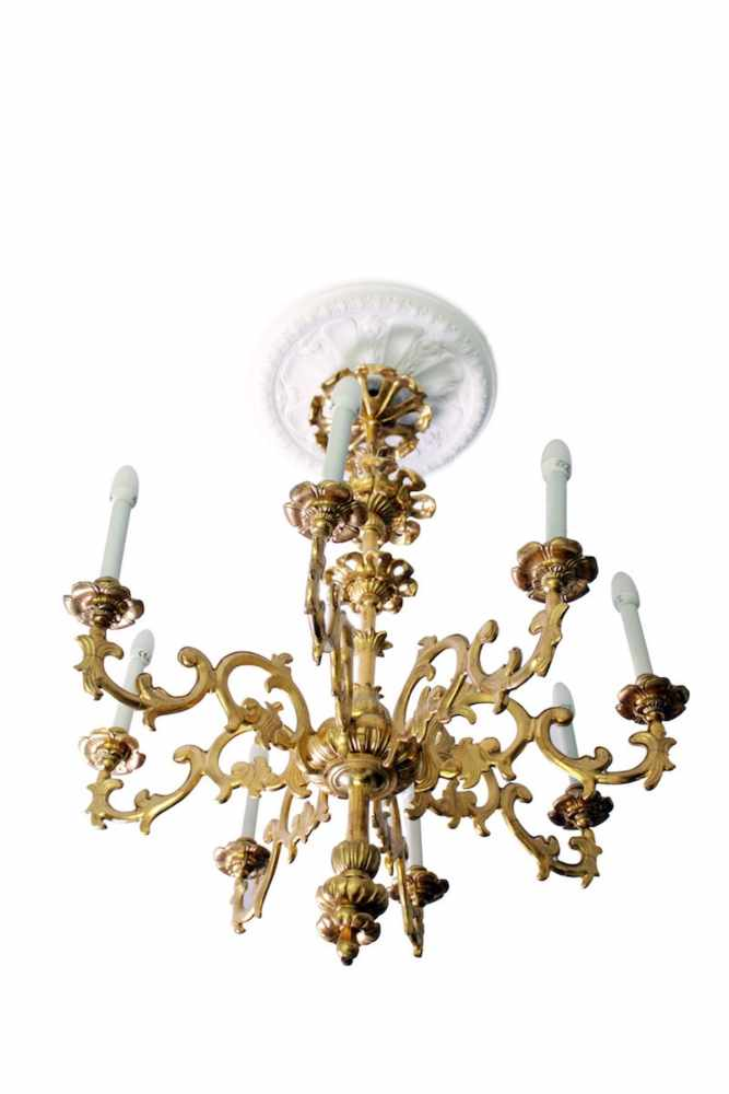 BAROCKLUSTER 8-armig, blattvergoldet, Durchmesser 85 cm, Höhe 105 cm, hervorragender Zustand