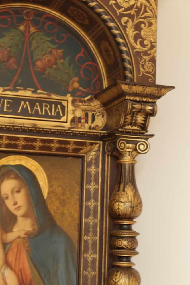 HAUSALTAR Holz, teilweise vergoldet, Bildnis Madonna mit Jesuskind, Teophil Melicher (1860 - - Image 2 of 4