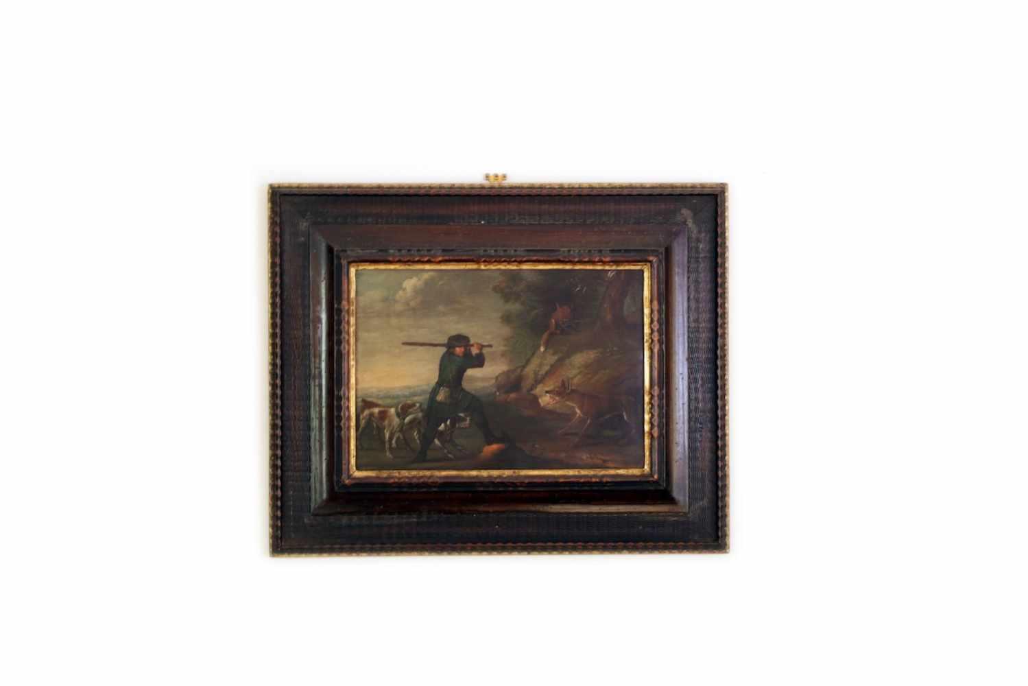 ZWEI JAGDBILDER 2 Jagdbilder, Öl auf Kupfer, 17. Jhdt., 41 x 28 cm