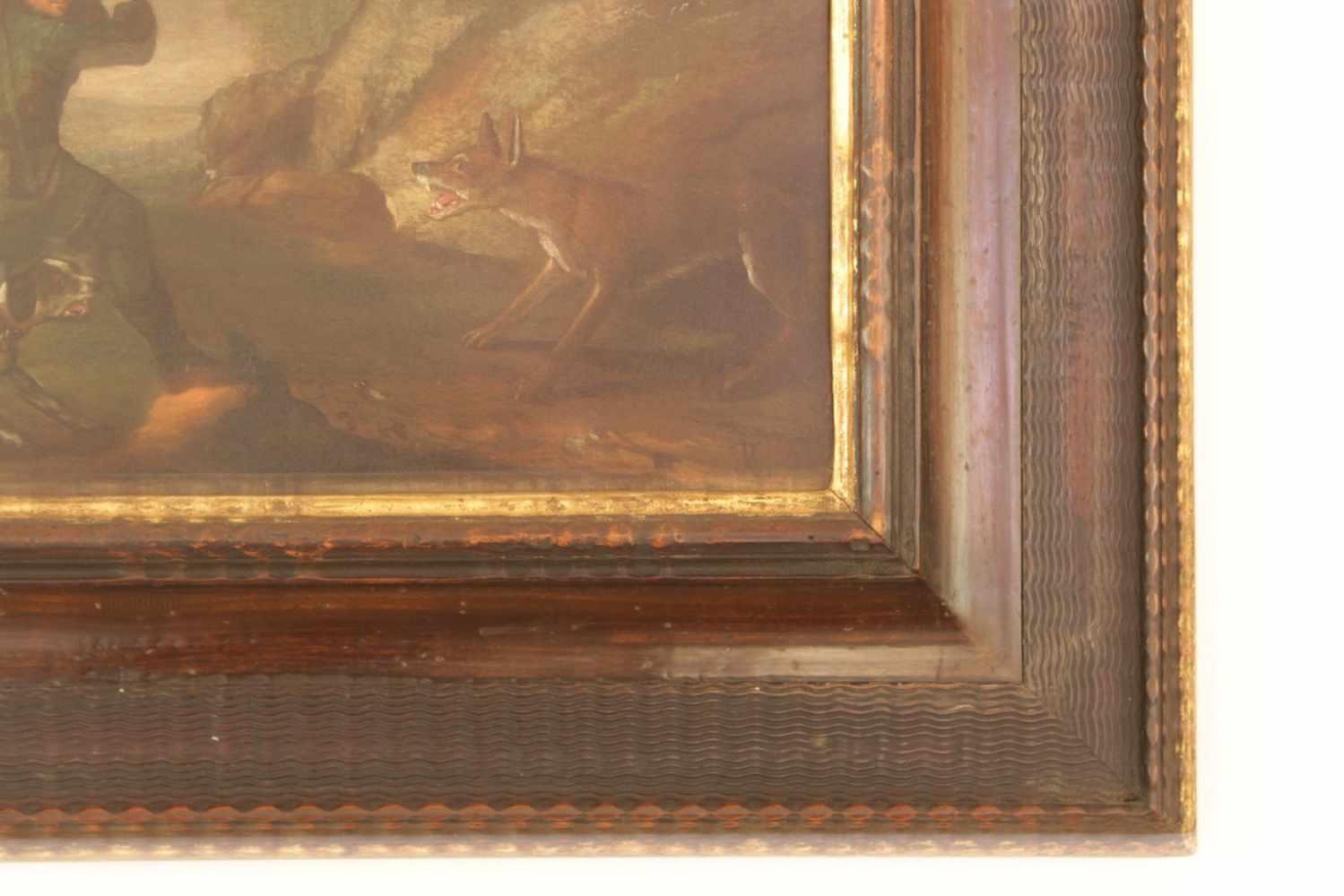 ZWEI JAGDBILDER 2 Jagdbilder, Öl auf Kupfer, 17. Jhdt., 41 x 28 cm - Image 2 of 3