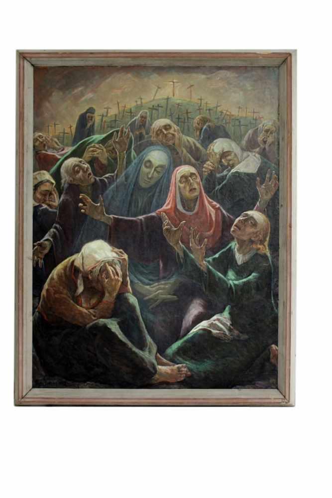 TRAUERNDE FRAUEN Trauernde Frauen, Hans Simmerl (1897 - 1965), Öl auf Leinwand, 192 x 146 cm, in