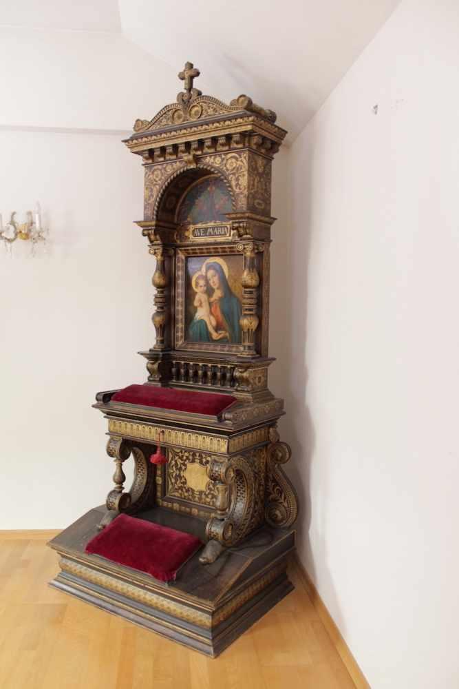 HAUSALTAR Holz, teilweise vergoldet, Bildnis Madonna mit Jesuskind, Teophil Melicher (1860 - - Image 4 of 4
