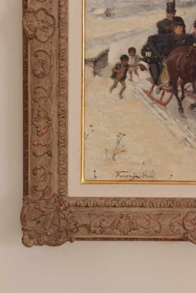 WINTERLANDSCHAFT Winterlandschaft mit Pferdekutsche und bettelnden Kindern, Lajos Kuhanyi, um - Image 2 of 2