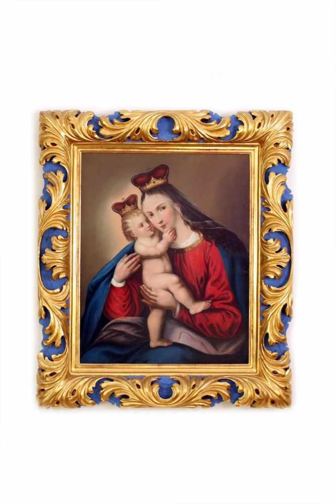 MADONNA MIT JESUSKIND Maler unbekannt, um 1780, Öl auf Leinwand, 66 x 53 cm, in überaus