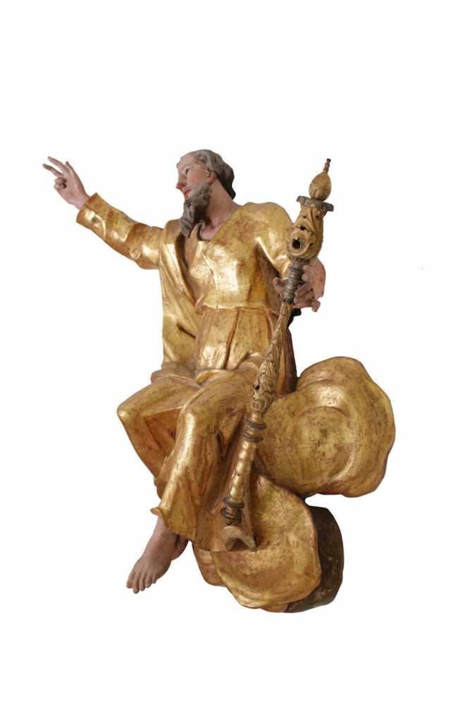 BAROCKE GOTTESFIGUR Barocke Gottesfigur aus blattvergoldetem Holz, Höhe 88 cm