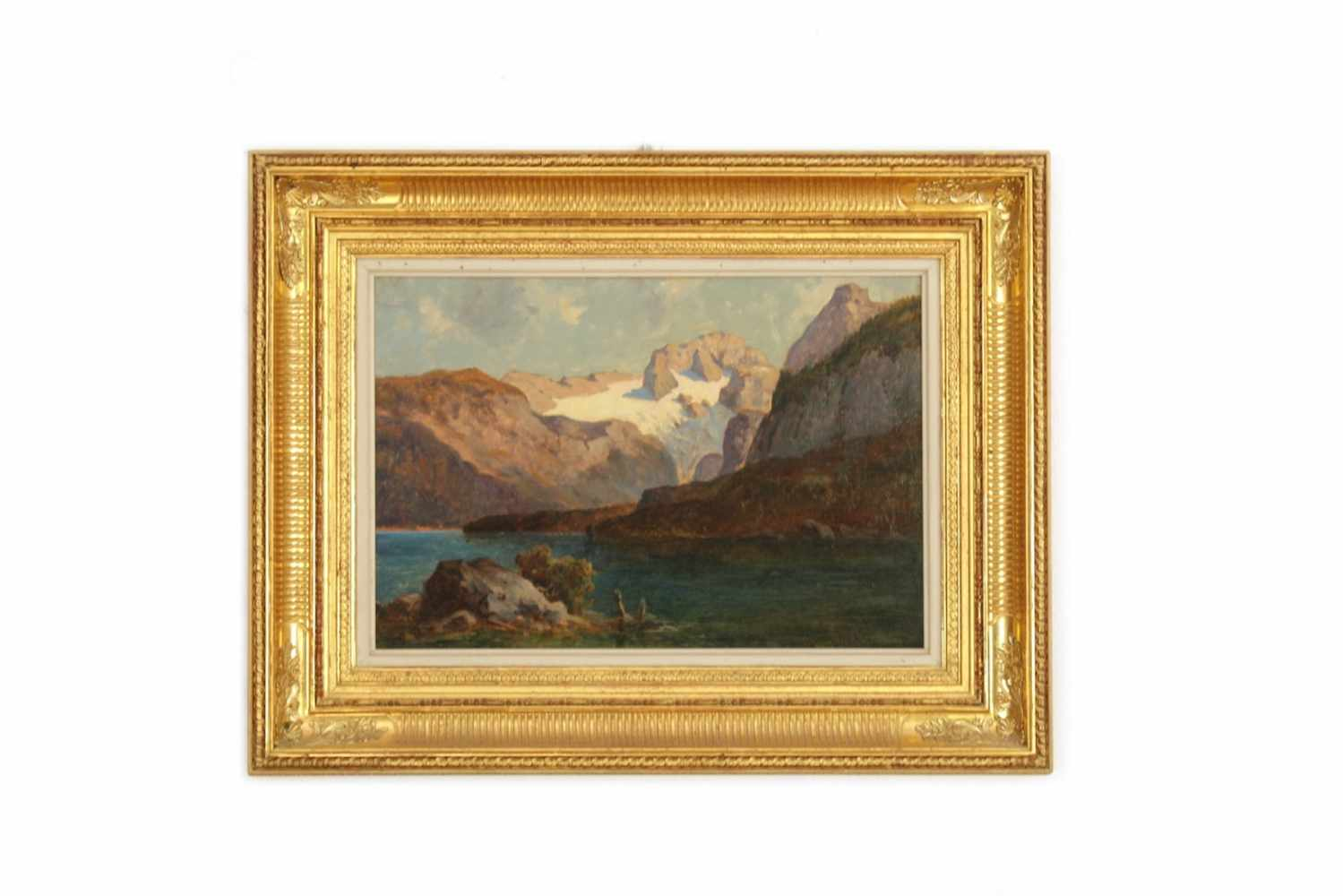 SEENLANDSCHAFT Seenlandschaftsbild, womöglich Salzkammergut, Öl auf Leinwand, 41 x 28 cm, in