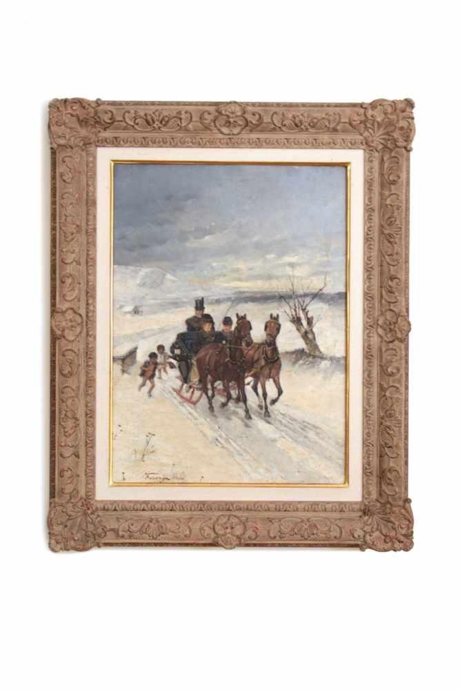 WINTERLANDSCHAFT Winterlandschaft mit Pferdekutsche und bettelnden Kindern, Lajos Kuhanyi, um