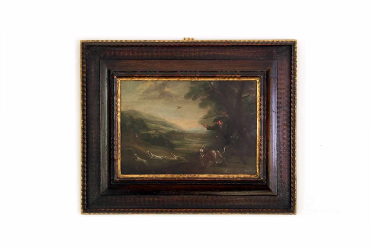 ZWEI JAGDBILDER 2 Jagdbilder, Öl auf Kupfer, 17. Jhdt., 41 x 28 cm - Image 3 of 3