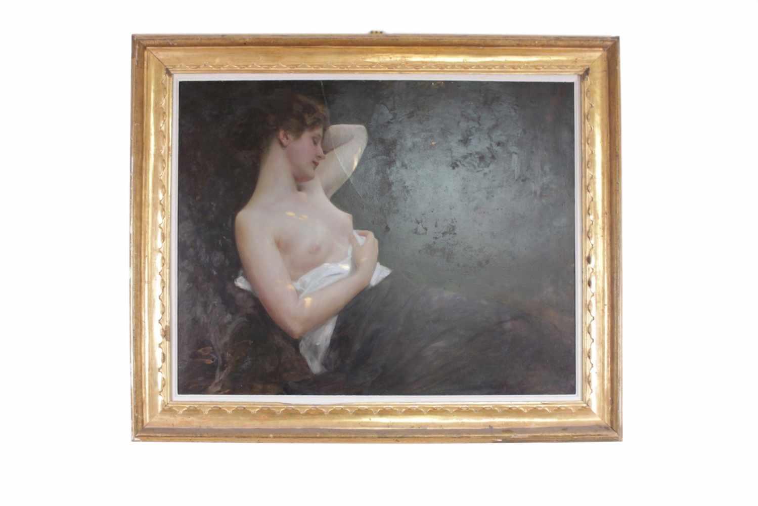 BILDNIS EINER NACKTEN DAME Albert Ritzberger (1853 - 1915), Öl auf Holz, 98 x 78 cm, in