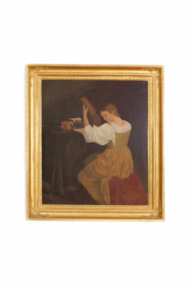 HARFENSPIELERIN Bildnis einer Harfenspielerin, Maler unbekannt, um 1880, Öl auf Leinwand, 70 x 60