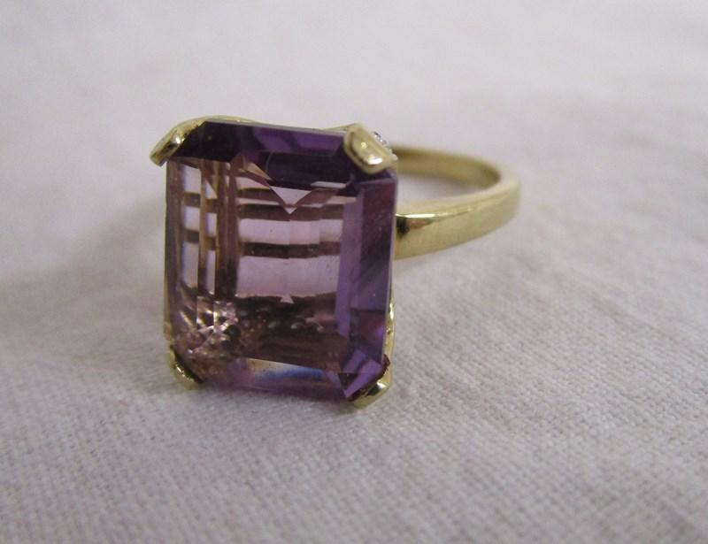 Gold amethyst & diamond set ring