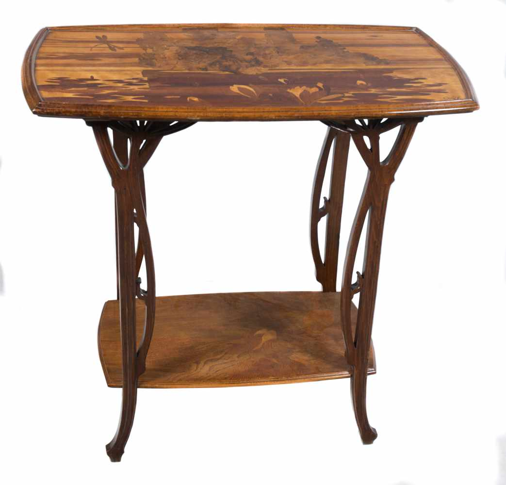 Mile Gall 1846 1904 Beechwood Coffee Table With Exotic Wood Marquetry Decorated With Flow