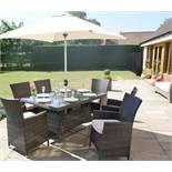 + VAT Brand New Chelsea Garden Company Six Seat Rectangular Outdoor Dining Set - Grey Rattan &