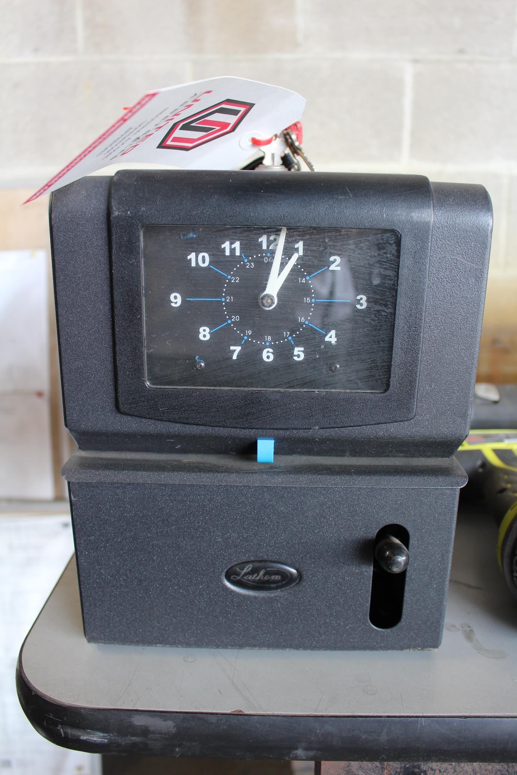 Lot 1 - LATHEM TIME CLOCK W/ KEY
