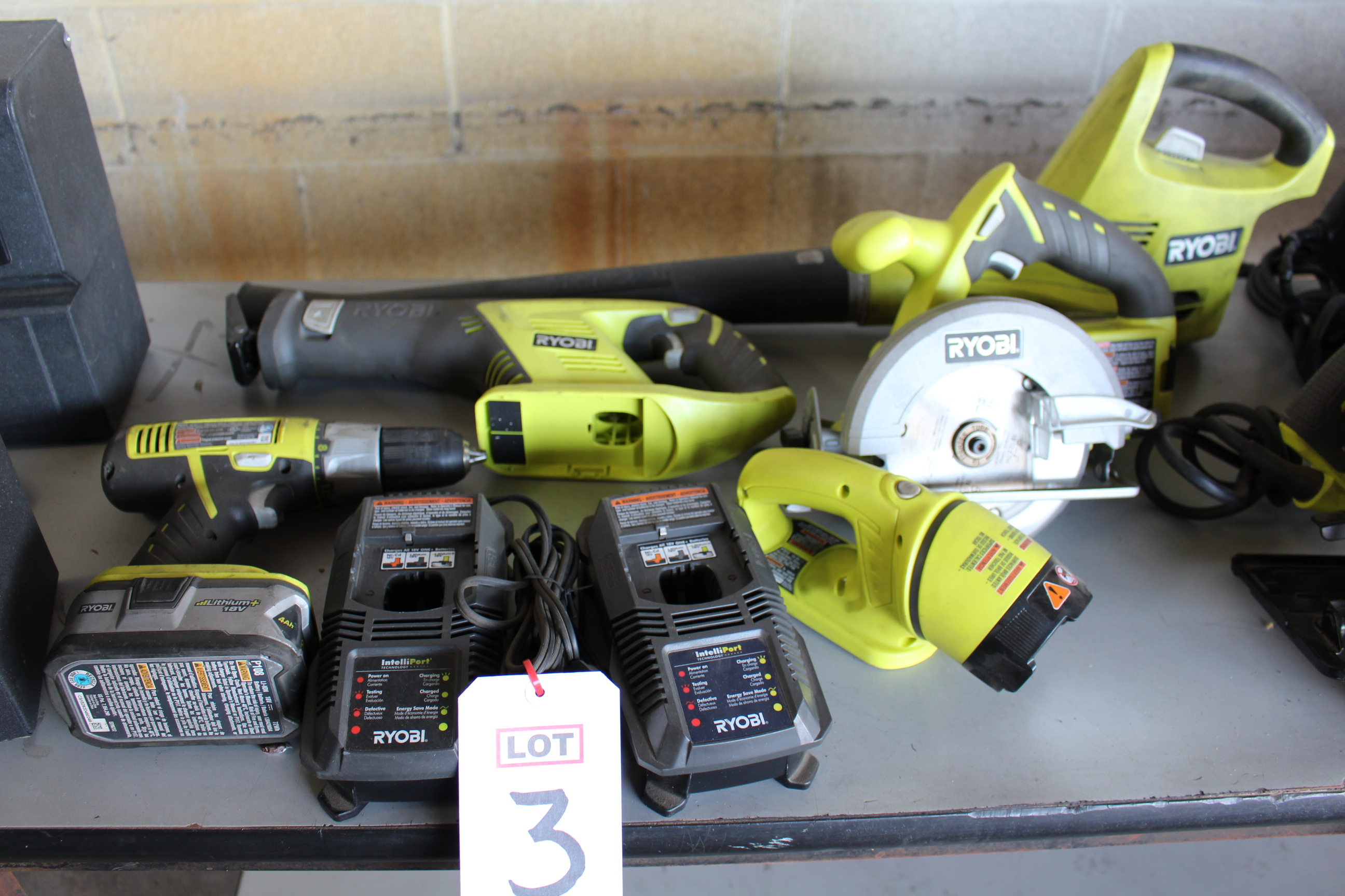 Lot 3 - RYOBI COMBO DRILL, CIRCULAR SAW/SAWZALL W/ (2) BATTERIES AND (2) CHARGERS