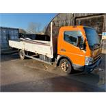 2009 REG MITSUBISHI FUSO CANTER 7C15 3.0 DIESEL ORANGE DROPSIDE LORRY, SHOWING 2 FORMER KEEPERS