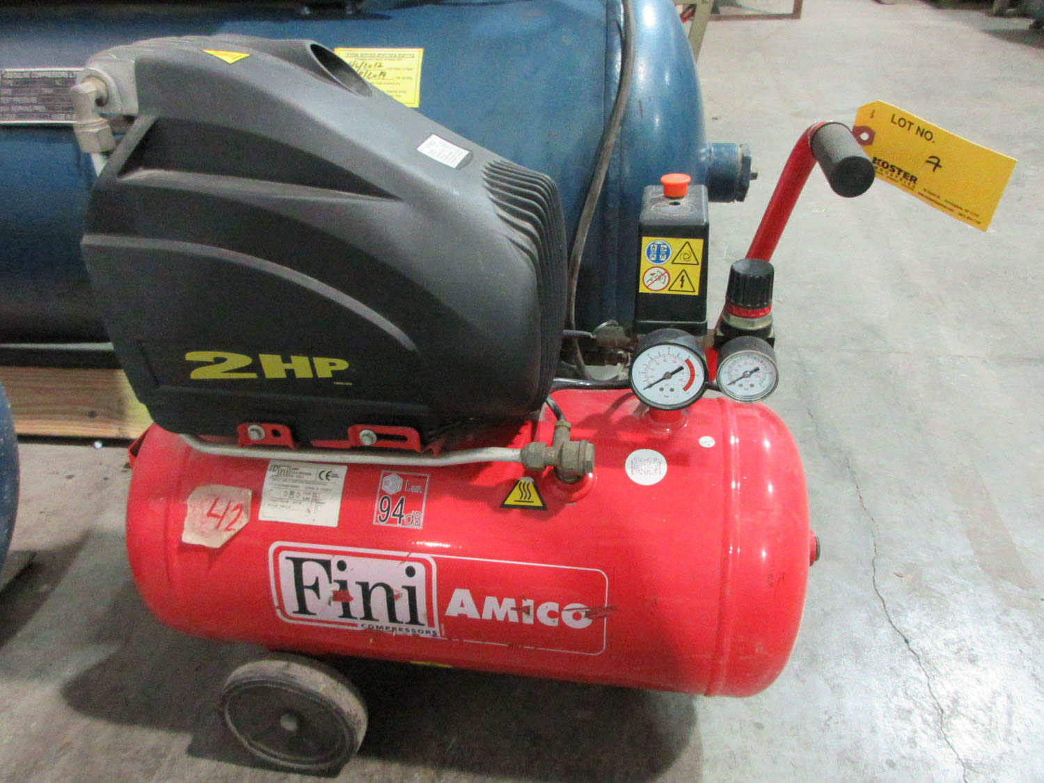 Lot 7 - FINI MDL. E.C AMICO 25/SF2500 AIR COMPRESSOR; PORTABLE; HORIZONTAL; 2 HORSEPOWER, S/N: N/A [A#42][