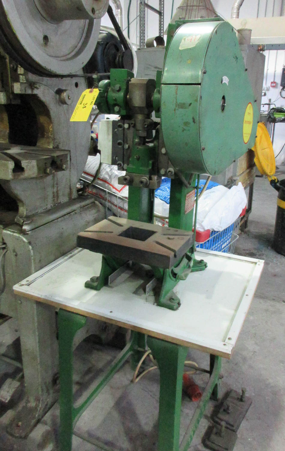 Lot 38 - BENCHMASTER OBI PUNCH PRESS; MECHANICAL CLUTCH; 30X20 T-SLOT TABLE; 11 CM THROAT; 15 CM OPEN HEIGHT;
