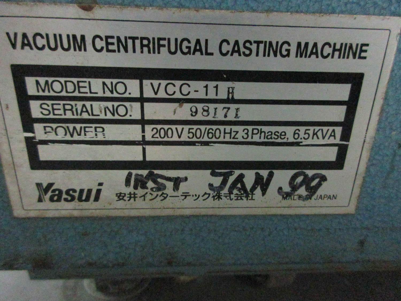 YASUI MDL. VCC-IIH VACUUM CENTRIFUGAL CASTING MACHINE; FOR PLATINUM, 30 CYCLES, 200V; 50/60HZ; 3PH; - Image 6 of 6