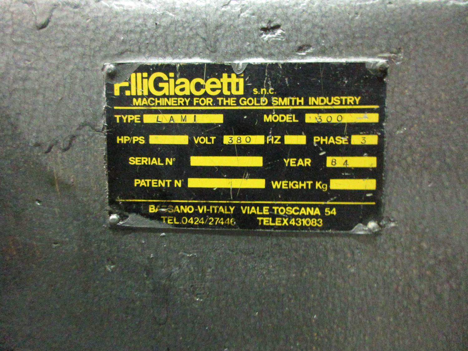 F. LLIGIACETTI MDL. LAMI 380 DOUBLE ROLLING MILL; TWIN SCREW; HAND-OPERATED; 380V; 50HZ; 3 PH, 29 CM - Image 4 of 4