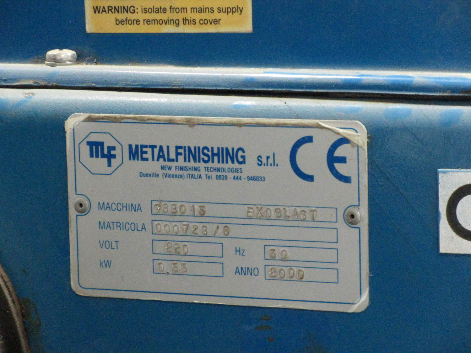 METALFINISHING MDL. SBB0 16 EKOBLAST SAND BLAST MACHINE; 50 HZ; 0.55 KW, S/N: 000728-0 (2000) [A# - Image 2 of 2