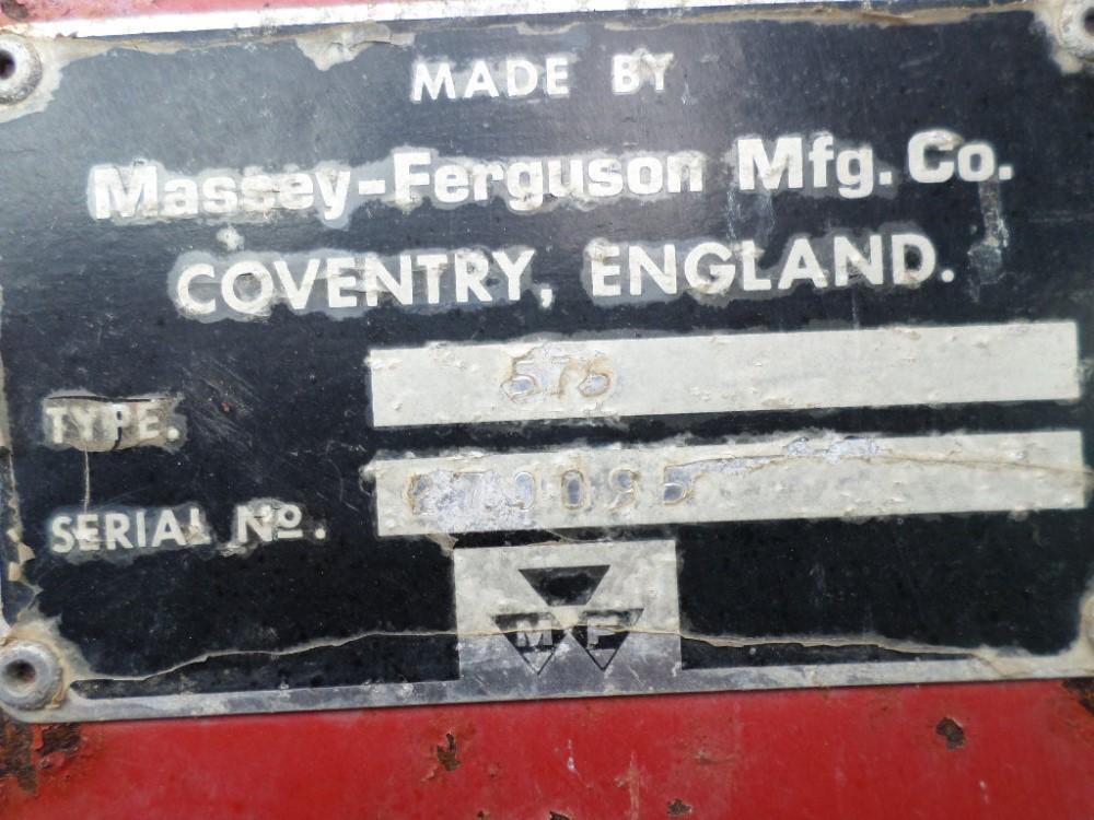 V reg MASSEY FERGUSON 575 2WD TRACTOR C/W 80 POWER LOADER (LOCATION SHEFFIELD) 5259 HOURS, NO V5 ( - Image 9 of 12