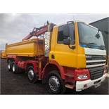 57 reg DAF FAD CF 85.360 8 WHEEL TIPPER C/W PALFINGER GRAB (LOCATION SHEFFIELD) 1ST REG 01/08,
