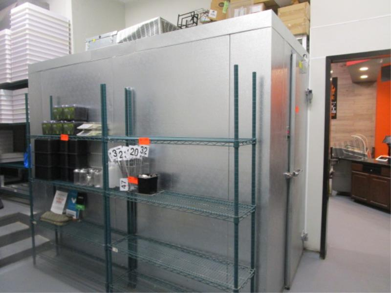 """Walk In Cooler by Norlake, Approx. 10' x 91""""t x 6'w, Drop In Compressor, Cut Out In Rear For"""