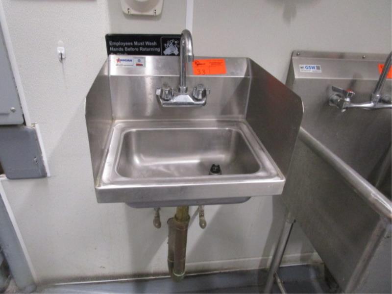 Stainless Steel Hand Sink w/ Dual Side Splash Guards,