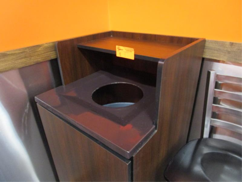 Laminate Trash Receptacle w/ Rubbermaid Plastic Can - Image 2 of 2