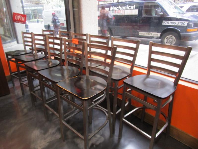 (12) Bar Stools, Metal Frame, Wood Seat