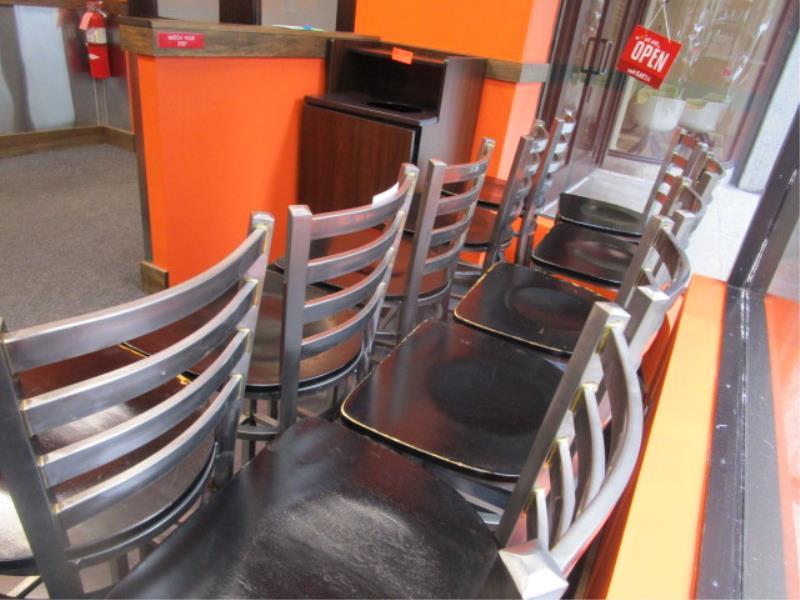 (12) Bar Stools, Metal Frame, Wood Seat - Image 4 of 4