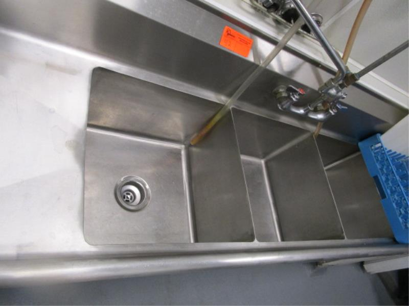 """Three Compartment Sink w/ Dual Side Drainboards, Sprayer, 89"""" - Image 3 of 4"""