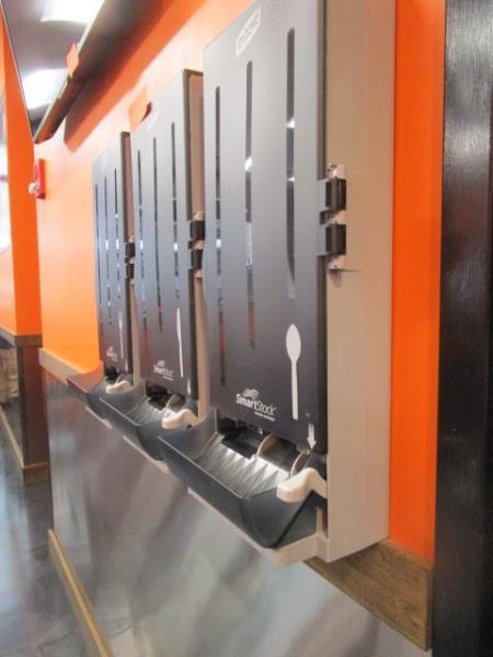 (3) Dixe Wall Mounted Utensil Dispensers & (2) Napkin Dispenser - Image 2 of 3
