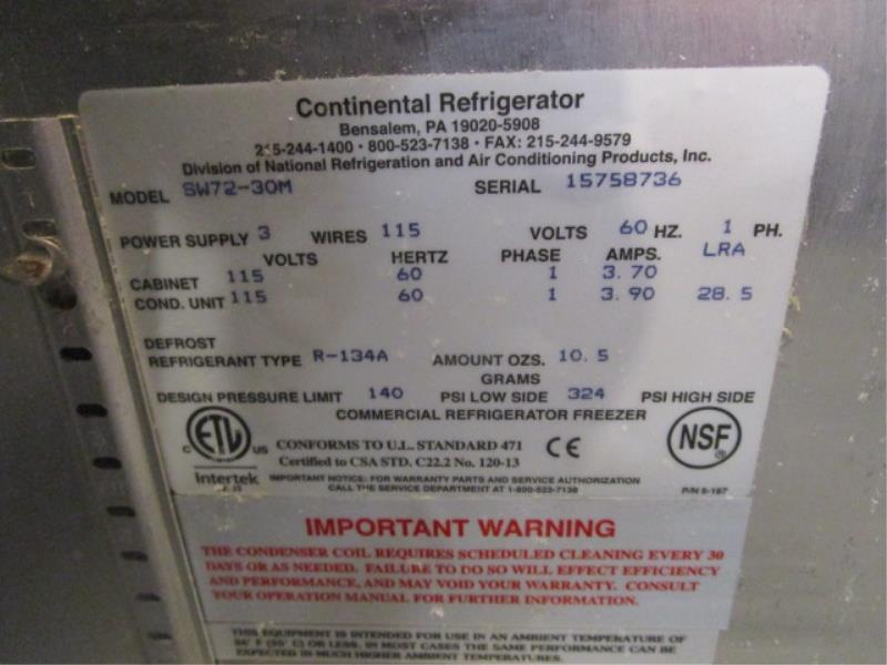 Continental Pizza Prep Unit, Model: SW72, SN: 15758736 - Image 3 of 6