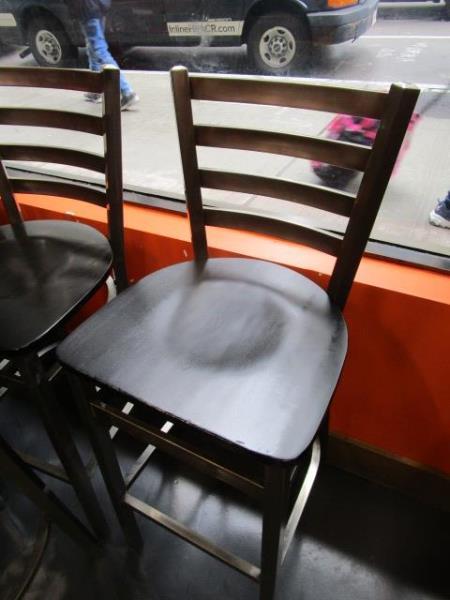 (12) Bar Stools, Metal Frame, Wood Seat - Image 2 of 4