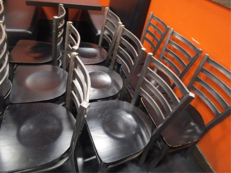 (14) Metal Frame Dinning Chairs w/ Wood Seat - Image 4 of 5