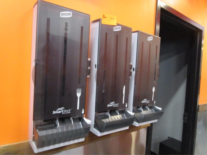 (3) Dixe Wall Mounted Utensil Dispensers & (2) Napkin Dispenser