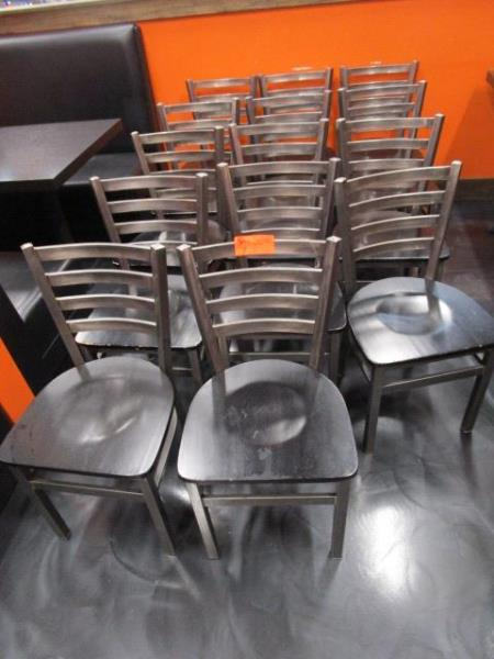 (14) Metal Frame Dinning Chairs w/ Wood Seat - Image 3 of 5