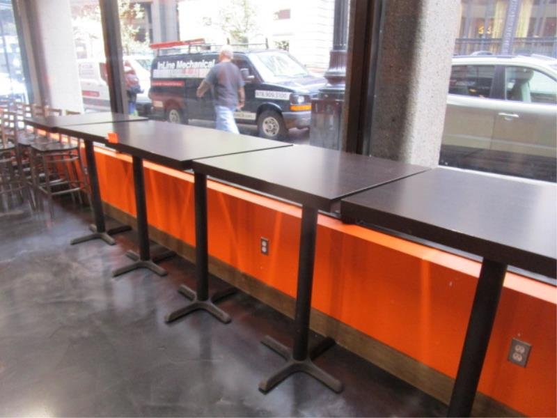 (5) Bistro Tables, w/ Dark Wood Top by BFM Seating - Image 2 of 7