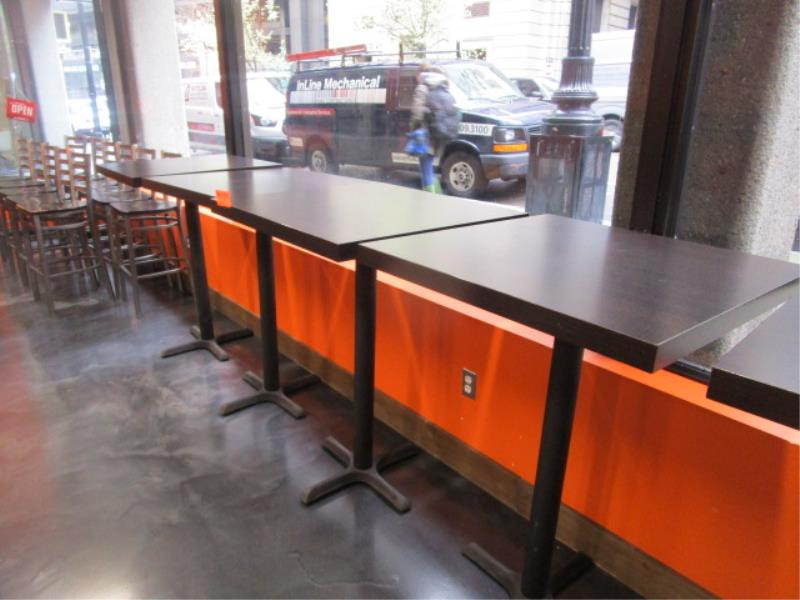 (5) Bistro Tables, w/ Dark Wood Top by BFM Seating