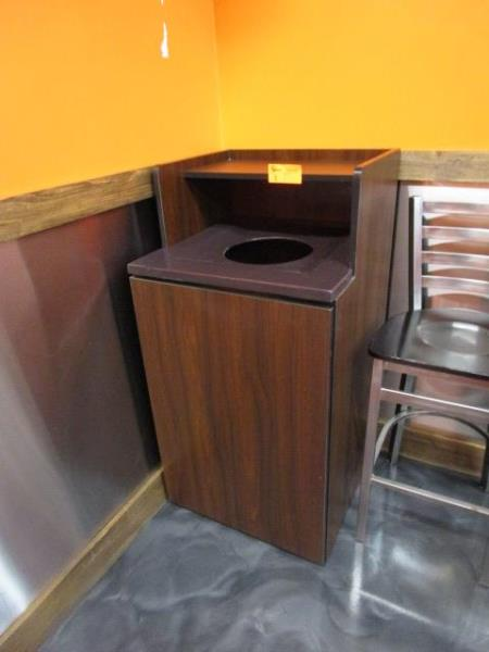 Laminate Trash Receptacle w/ Rubbermaid Plastic Can