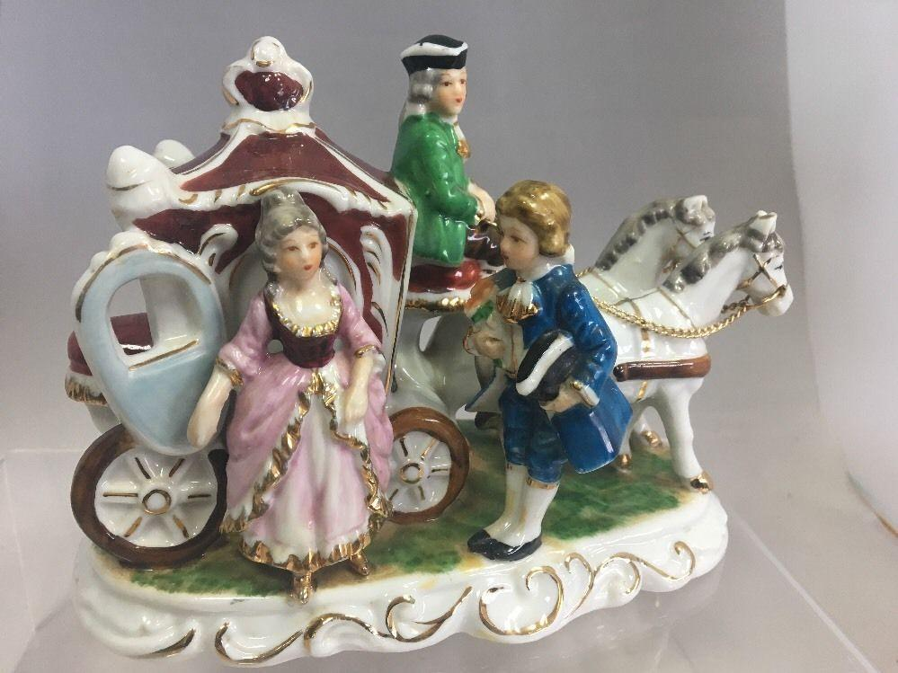 Vintage Porcelain Horse and Carriage with Music Box ...
