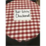 "90"" Round Red & White Checkered Umbrella Tablecloths"