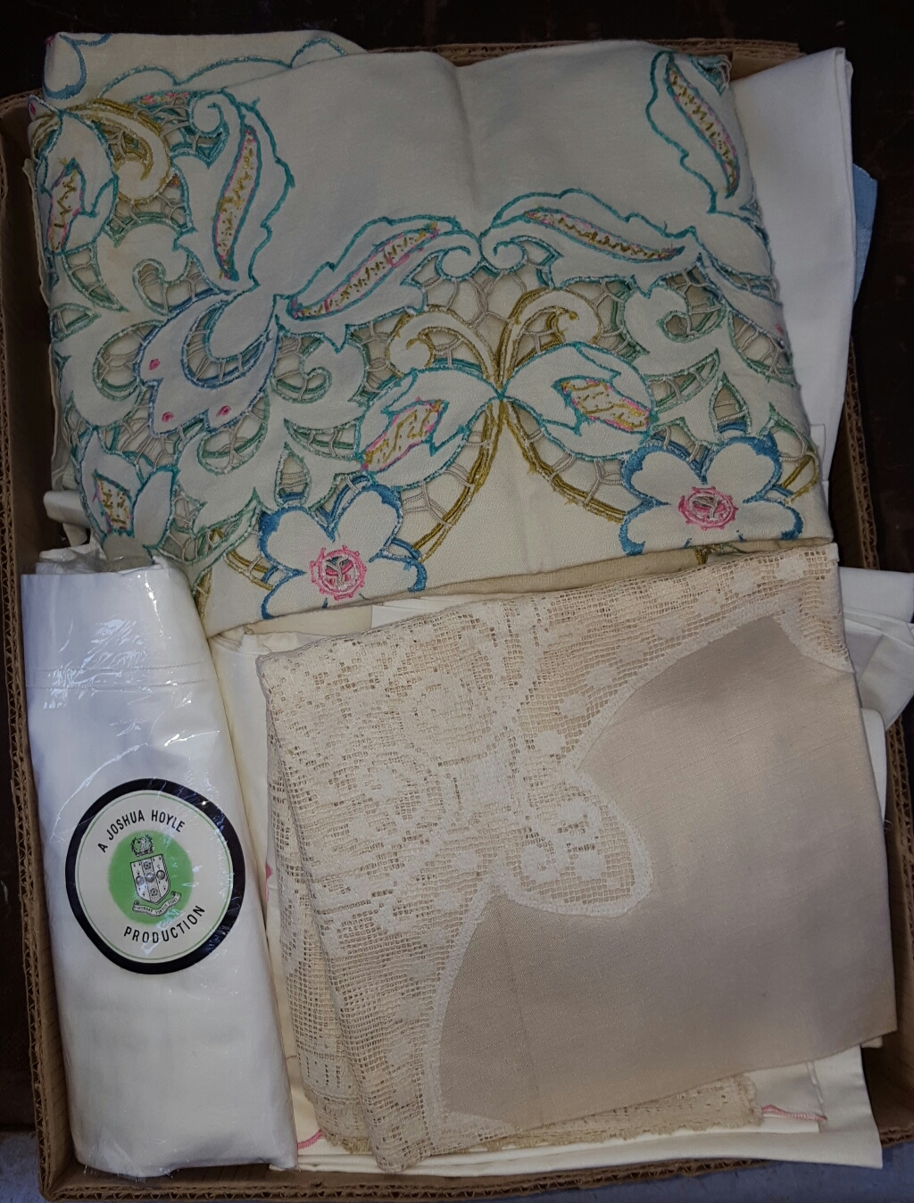 Lot 42 - Box of Linen & Fabrics includes Irish Linen ***reserve reduced***