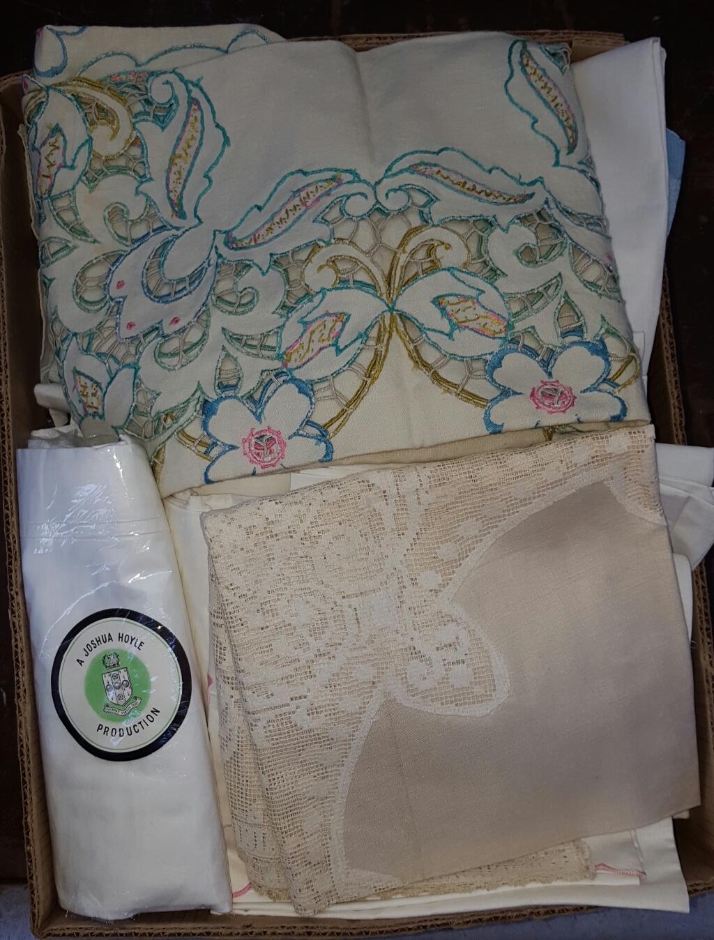 Lot 42 - Box of Linen & Fabrics includes Irish Linen ***reserve reduced***