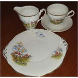 Lot 49 - Hunting Scene Staffordshire Cup Saucer Plate & Creamer