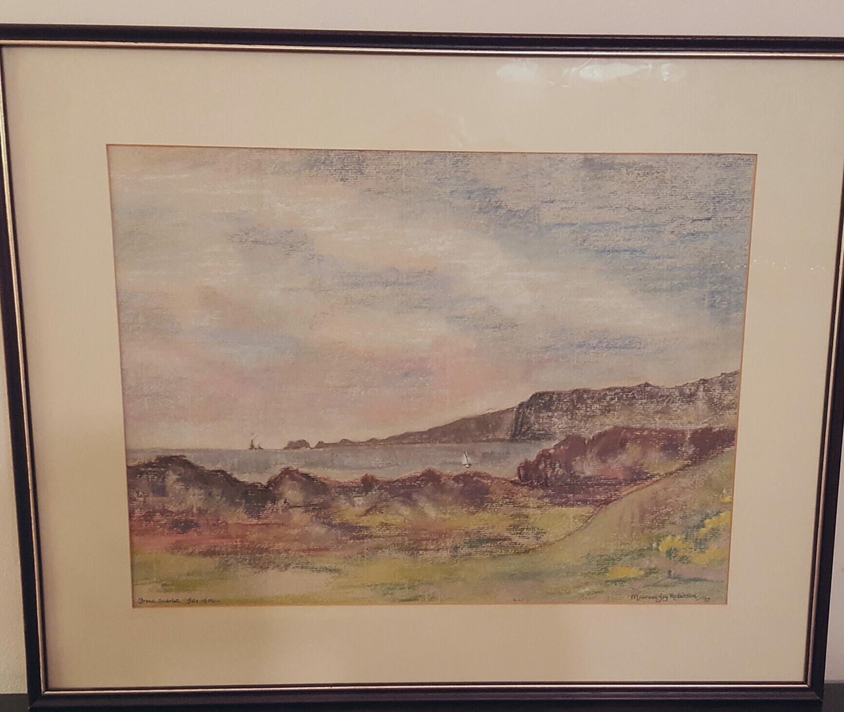 Lot 33 - Painting Pastel Coastal Scene Isle of Man Signed Robinson