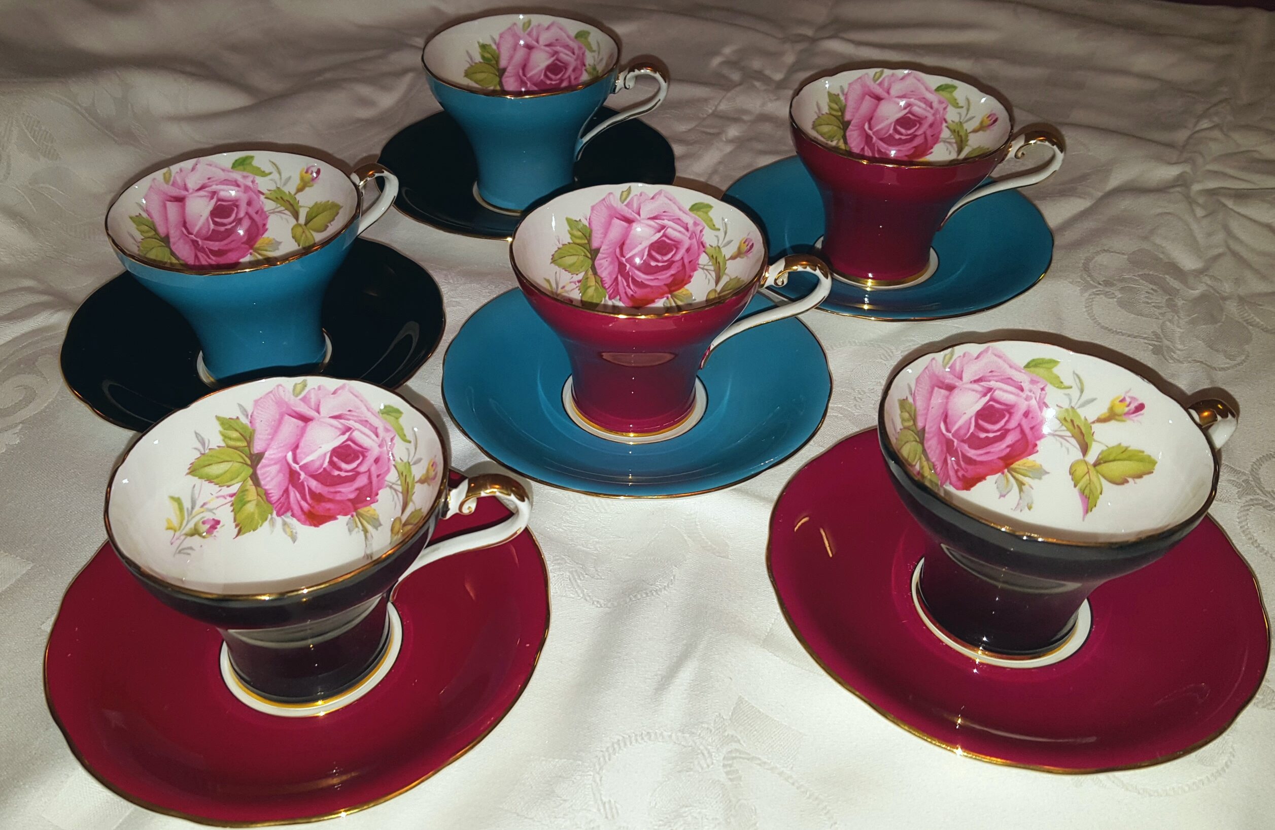 Lot 48 - Set of 6 Multi Coloured Aynsley Tea Cups & Saucers